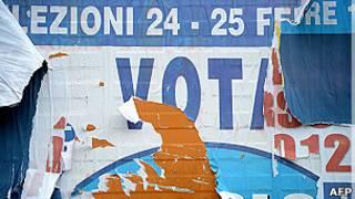 Pancarta, elecciones en Italia
