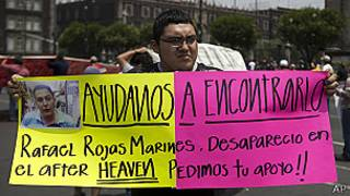 Pancarta por los secuestrados