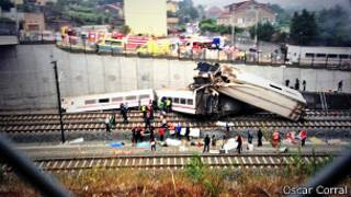 Tren descarrilado en Galicia