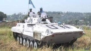 Blindado da ONU no leste da República Democrática do Congo (foto: BBC Brasil)