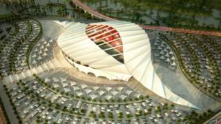 Maquete do estádio Al-Shamal, que será usado na Copa de 2022 no Catar. Foto: Getty