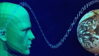 Representación artística conceptual acerca del hombre e internet