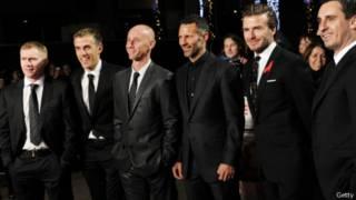 Paul Scholes, Phil Neville, Nicky Butt, Ryan Giggs, David Beckham Gary Neville