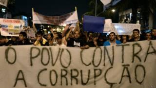 Protesto contra corrupção   Crédito: AFP