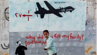 Un grafiti antidrones en Yemen