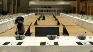 Sala onde será realizada a conferência sobre a Síria (AFP)