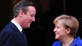 David Cameron y Angela Merkel