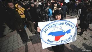 Protesto pró-Rússia na Crimeia (Getty)