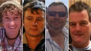 Paul Goslin, de 56 años, Andrew Bridge, de 22, Steve Warren, de 52, y James Male, 23