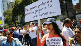 Protesta que pide el pago de aerolineas