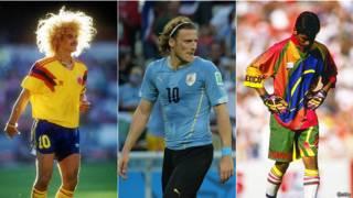 Valderrama, Forlán y Ramos con sus estilso mundialsitas