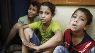 Niños refugiados en Gaza