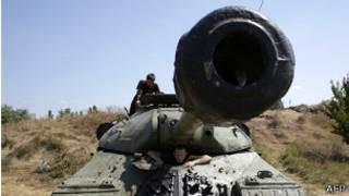 Tanque en los combates de Ucrania