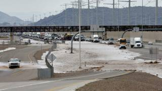 Carretera inundada cerca de Phoenix