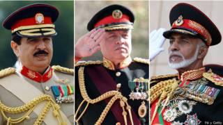 Rey Hamad de Bahréin, rey Abdalá de Jordania y el sultán Qaboos de Omán
