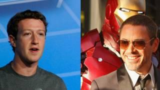Mark Zuckerberg y Robert Downey Jr. que representa el papel de Iron Man