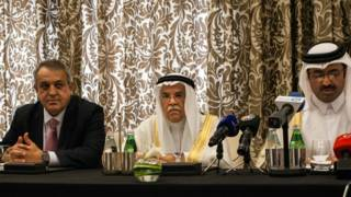 Ministros de petroleo de Venezuela, Arabia Saudita y Qatar.