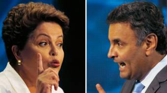 Os candidatos à presidência Dilma Rousseff e Aécio Neves