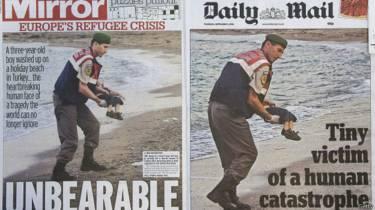 Portada de medios internacionales con la foto de Alan Kurdi