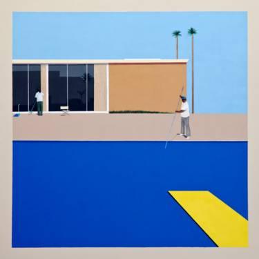 Un hombre limpia una piscina en una casa moderna de Los Ángeles