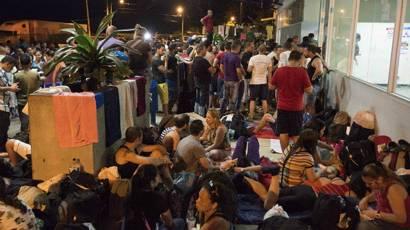 Cubanos en la frontera entre Costa Rica y Nicaragua