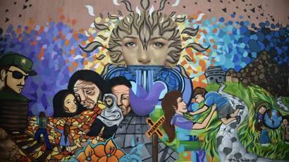 Mural en centro de derechos humanos de Tapachula, México