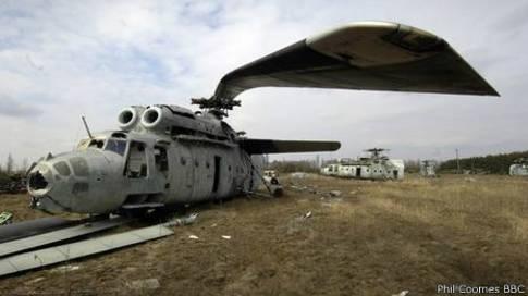 Aeronave soviética abandonada en la Zona de Exclusión de Chernóbil