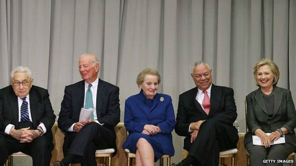 Henry Kissinger, James Baker, Madeleine Albright, Colin Powell y Hillary Clinton