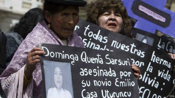 Protesto contra machismo na Bolívia / Crédito: EPA