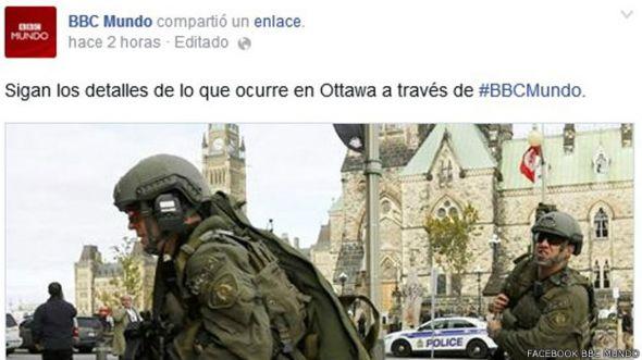 Facebook BBC Mundo. Tiroteo de Canad'a
