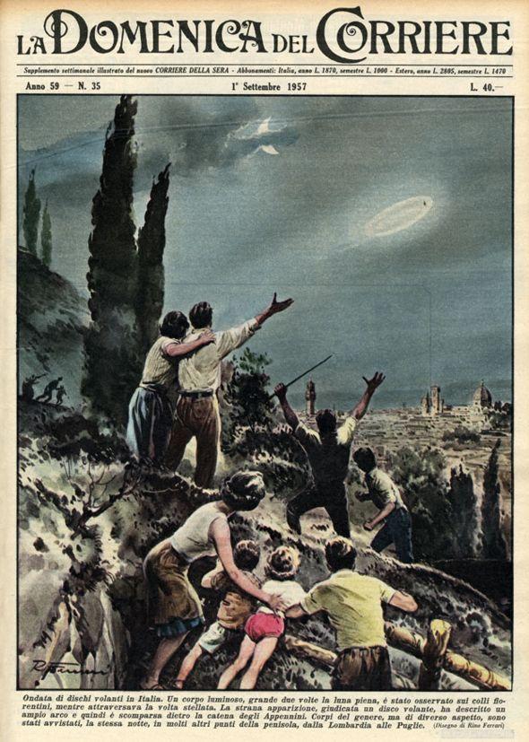 Иллюстрация в газете: НЛО над Тосканой