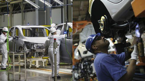 Linha de produção de montadoras no México e no Brasil