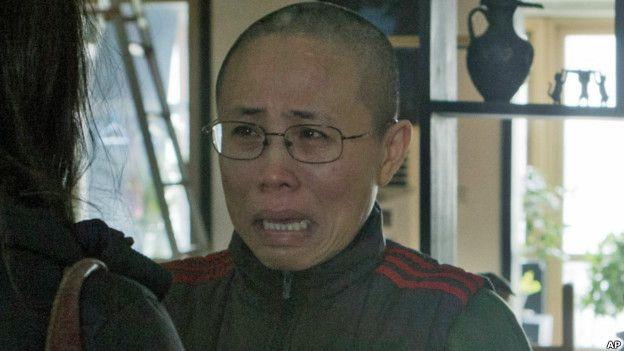 劉霞在北京家中接受美聯社採訪(2012年資料圖片)