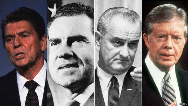 Los presidentes Reagan, Nixon, Johnson y Carter