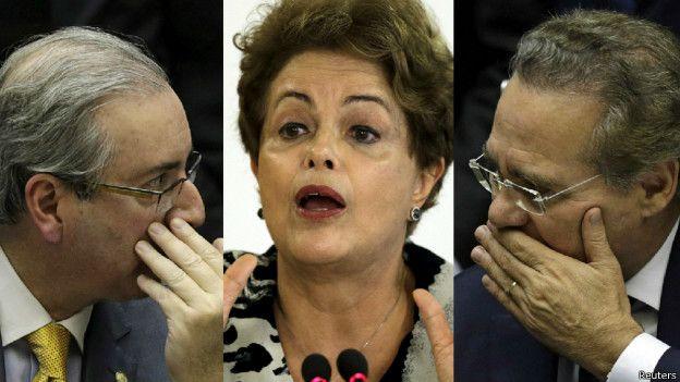 Dilma Rousseff, Eduardo Cunha e Renan Calheiros