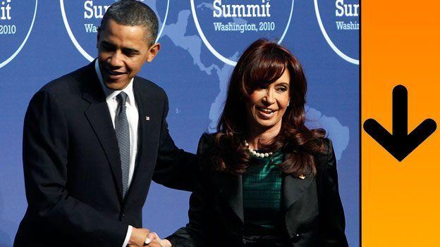 Barack Obama junto a Cristina Fernández de Kirchner