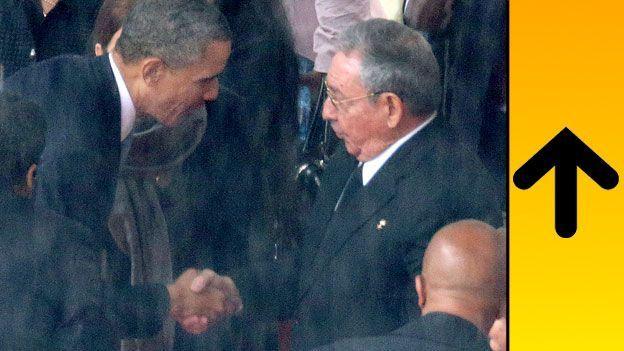 Barack Obama estrecha la mano de Raúl Castro
