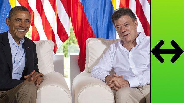 Barack Obama junto a Juan Manuel Santos