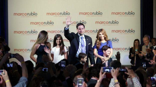 Marco Rubio con su familia