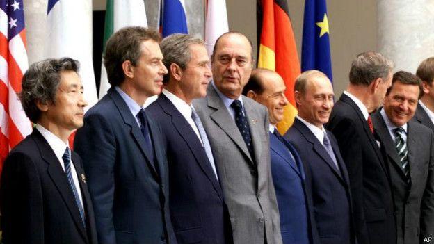 """Участники саммита """"Большой восьмерки"""" в Генуе (2001 год)"""