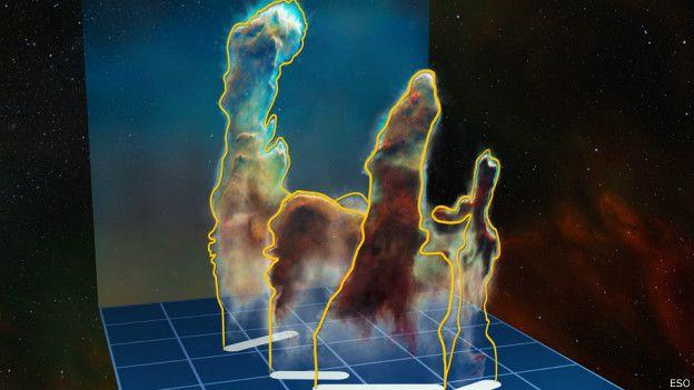 En las columnas se desarrollan las nubes gigantes de gas y polvo, lugares donde nacen nuevas estrellas.
