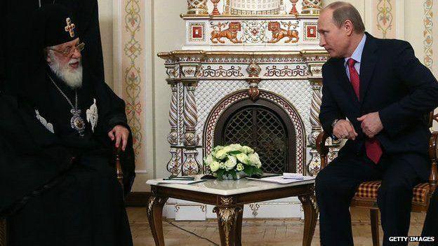 Патриарх Илия II и Путин