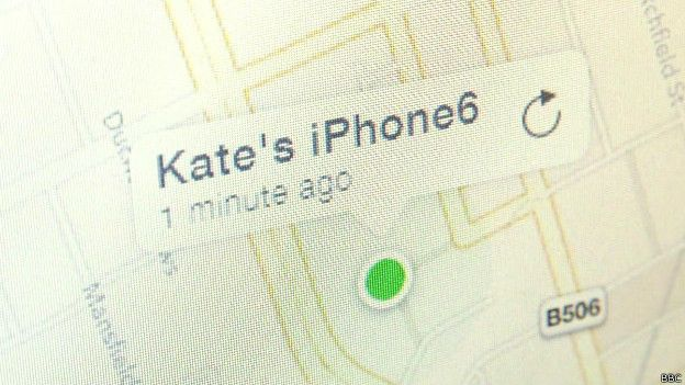 "mapa de ""encuentra mi iPhone"" de Apple"