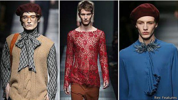 Первая коллекция мужской одежды для Gucci авторства Алессандро Микеле изобилует женскими образами