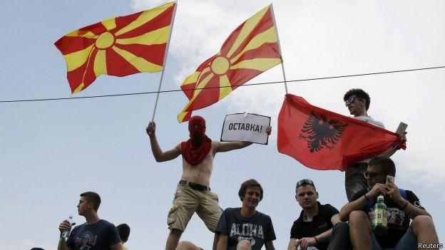Демонстрация протеста в Македонии