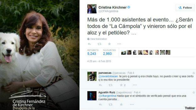 Cristina Fernandez, Argentina, Twitter, líderes mundiales