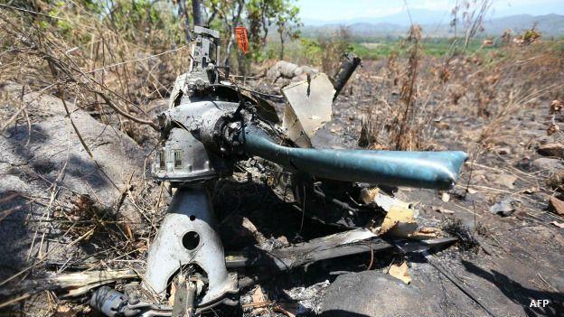 Helicóptero militar derribado en Jalisco, México. Foto: AFP/Getty