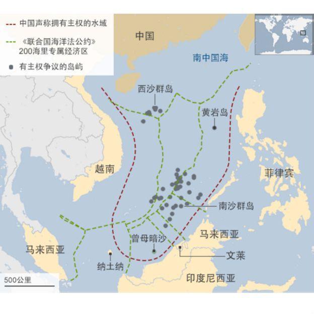 中國南海主權爭議示意圖