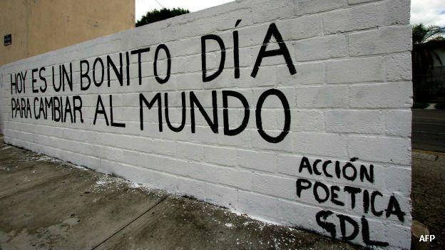 Frases pintadas en un muro de Guadalajara, Jalisco, México. Foto: AFP/Getty