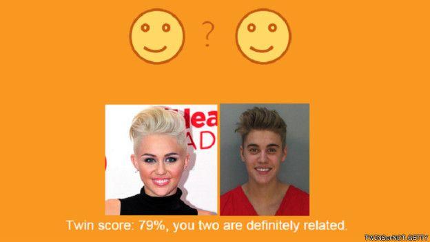 La respuesta de la tecnología facial es que los rostros de Bieber y Cyrus tienen una semejanza del 79%.